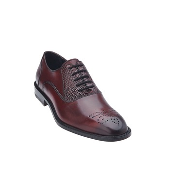 Belvedere Como Men's Antique Genuine Crocodile Shoes Wine