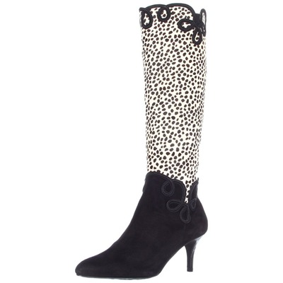 J.Renee Women's Paulina Knee-High Boot Black/White