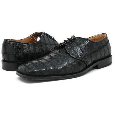 David Eden Men's Trek Patchwork Ostrich Leg Leather Black