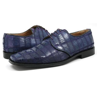 David Eden Men's Trek Patchwork Ostrich Leg Leather Violet