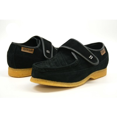 British Collection Royal Old School Slip On Black Leather Suede