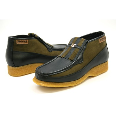 British Collection Apollo-Black and Green Leather/Suede Slip-on