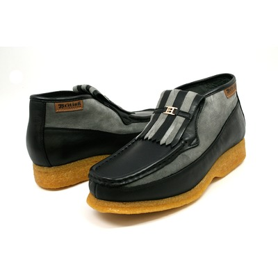 British Collection Apollo-Black & Grey Leather and Sued Slip-ons