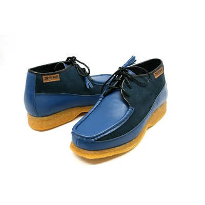 British Collection Knicks-Blue and Blue Leather/Suede Slip-on