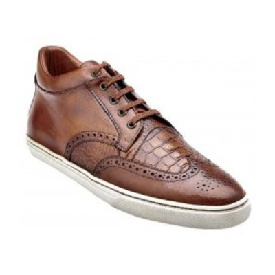 "Belvedere ""Adriano"" Brown Genuine Alligator And Soft Antique Ita"