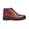 British Collection Burgundy Ostrich and Wingtip Leather