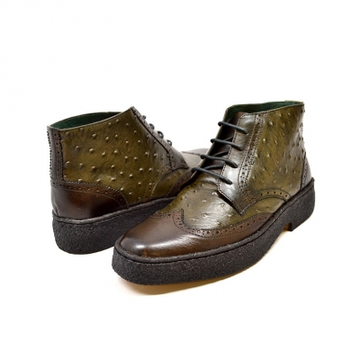 British Collection Olive Ostrich and Wingtip Leather