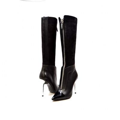 "SoleMani Women's French  X-Slim 12""-13"" Calf Black Leather Boot"